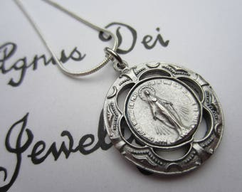 Miraculous Medal Pendant & Necklace Set, Blessed Mother, Virgin Mary, Catholic Jewelry, Gift Boxed