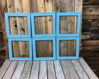 ON SALE -  Aqua Picture Frame Set of 6, Rustic Hand Painted Set, Distressed Photo Frames, 6- 9x9 Photo Frame, Gallery Frame Set, Lot 43
