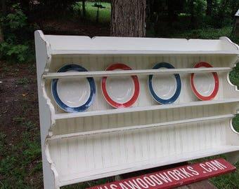 Pottery wall shelf  , plate rack cottage , french country  plate shelf , beach shelf , USA woodworks