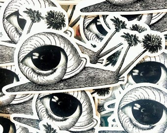 Surreal Eye Snail Collage Glossy Vinyl Art Sticker