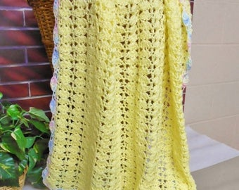 SALE Yellow Baby Blanket Pastel Border Crochet Afghan Handmade Knitted Gift For Baby Girl or Boy