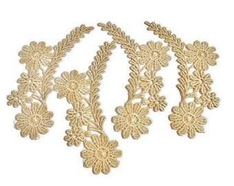 Venice Lace Flower Appliques Beige Tan Ecru Cream Color 4 Pieces Right And left Facing