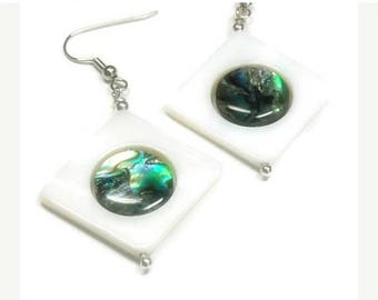 Sale| Abalone Paua Earrings, Mother of Pearl, Dangle, Geometric, Aqua, Summer, Beach, Abalone Jewelry, Abalone Shell, Natural, Ocean, Sea, B