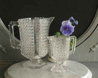 Antique EAPG Milk and Cream Pitchers Panelled Finecut