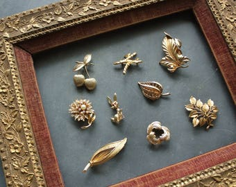 Collection of 9 Vintage Mid Century Gold Tone Brooches