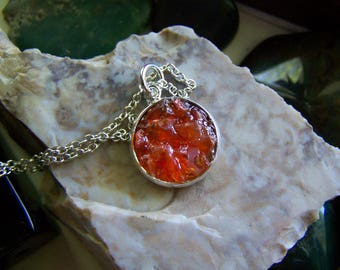 Mexican Fire Opal Gemstone Crystals Pendant