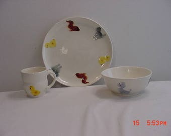 Vintage Goebel West Germany Children's Dish Setting With Adorable Animals   17 - 975