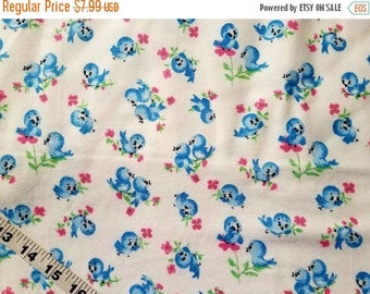 "Baby Flannel fabric with birds bluebird cotton print quilting sewing material to sew crafting project quilter bird fabric 31"" x 43"" remnant"
