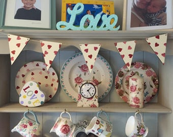 Decorative Decoupage Wooden Bunting using Hearts Emma Bridgewater design