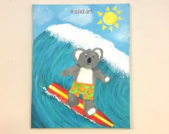 Surfing Koala Bear, 11x14 inch whimsical acrylic painting, original art for childrens rooms, humorous art