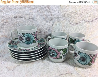 20% SALE Monopoli Italy Espresso Cups and Saucers Porcelain Vintage Retro Floral Flower Power Pink and Blue