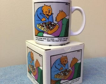 CLEARANCE Far Side Gary Larson Mug - Orange Cats with Chocolates Retro Collectible Comic Strip Coffee Cup