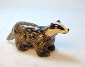 European Badger - Ceramic Figurine - Badger Sculpture - Pottery Animal - Black and White - Forrest Animal - Clay Badger - Badger Mascot