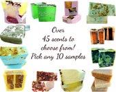 10 Soap Samples, soap sampler, soap sample gift set, soap loaf samples, vegan soap samples