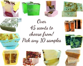 10 Soap Samples, soap sampler, soap sample gift set, soap loaf samples, vegan soap samples