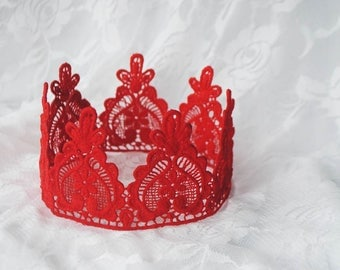 "Queen of Hearts Red Lace Crown - ""Queen Heart"" - fairytale, red queen, birthday crown, bridal crown, bachelorette party"
