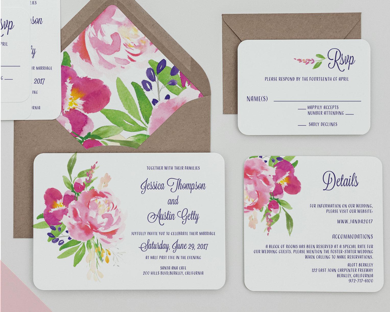 Rustic Hot Pink Floral Wedding Invitations, Fuschia Floral Wedding ...