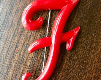 Vintage Red Early Plastic F Letter Pin Brooch 1940 Large Pin Brooch