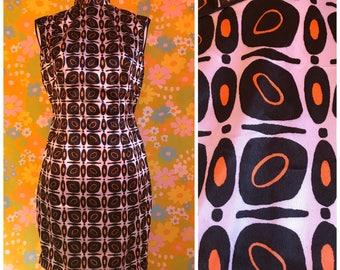 Vintage 1980's Black White Orange Funky Psychedelic qipao Asian Style Mini Mod Dress size Medium M