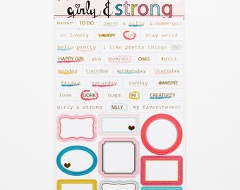 "Gold-foil Accented Tiny Word and Label Stickers - May 2017 ""Girly and Strong"" collection"