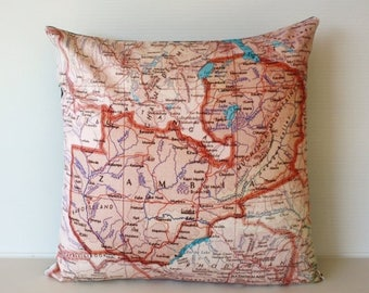 SALE SALE SALE Vintage map print pillow Zambia/ Organic cotton cover/ 16 inch pillow cover