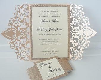 wedding invitations wedding invites laser cut wedding invitations laser cut wedding invites - Gold Wedding Invitations