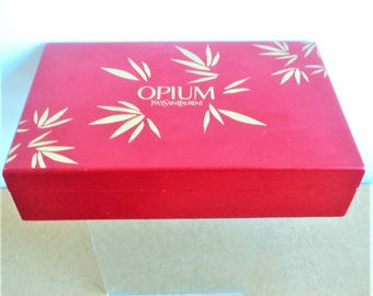 Vintage Opium Perfume Box... Yves Saint Laurent... Orange-Tan and Gold