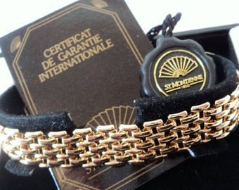 Vintage St. Montienne Bracelet... Bright Gold Gatelink... Signed Designer... Original Box etc