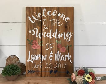 Wedding Welcome Sign - Rustic Welcome to our Wedding Sign - Wood Wedding Sign - Custom Wedding Sign - Rustic Wedding Decor