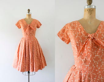 1950s Pacific Stream salmon cotton dress / 50s linen crosshatch