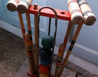 Vintage Partial Croquet Set with 4 Mallets and 5 wolid wooden balls and Homemade croquet set stand with handle