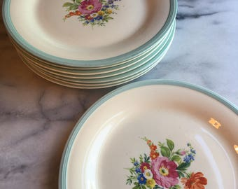 1930s Edwin M. Knowles Cottage Chic Floral China Plates - 8