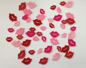 Wool Felt Lips 50 total Die Cuts - Pinks and Reds 5002 - Crochet Doll Lips - Dolls Lips