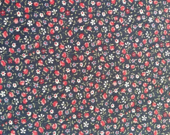 Over 1 Yard of Floral Cotton Fabric, Quilting Fabric, Fabric Destash Sale, Any Occasion Fabric,Small Flowers Cotton Blue Fabric,Tote Fabric