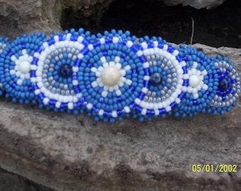 Native Inspired Rosette Beaded Barrette, Blue Hair Barrette, Handmade Beaded Barrette, Circle Beaded Clip, Boho Gypsy Hippie Beaded Hair