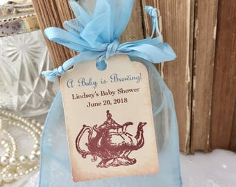 Boy Baby Shower Tea Party Favor Set Bags Tags Teapot Blue A Baby is Brewing Set of 10