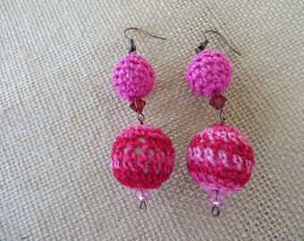 Shades Of Pink Crochet Wrapped Dangling Statement Earrings