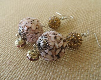 Pink Toned Shell Mosaic and Gold Rhinestone Studded Bead Dangling Earrings
