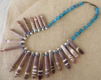 Sea Urchin Spine And Blue Recycled Ghana Glass Beaded Necklace