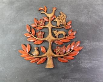 1963 Syroco Tree of Life Wall Hanging, Folk Art Decor