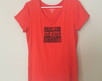 Prickly about Women's Rights, orange t-shirt, hand printed, linoleum block print, planned parenthood