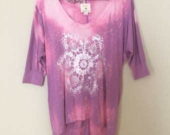 Lilac top with White Doily Print , bleached