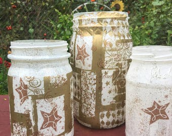 Gold Holiday painted and modge podge Vases or holiday candle holders