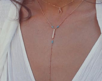 XMAS IN JULY Cz Dangle Necklace /// Rose Gold Necklace