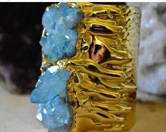 XMAS IN JULY Aqua Aura Gold Melt Cuff  /// Crystal Gemstone Cuff /// 24kt Gold Electroformed