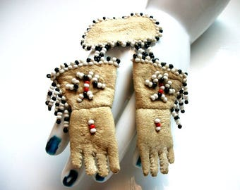 Vintage Miniature Beaded Leather Gloves Brooch Pin So Darling So Tiny Handmade Handcrafted Art Jewelry