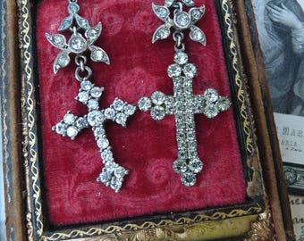 Antique Paste Cross Crucifix Earrings, Goddess Cross Talismans, by RusticGypsyCreations