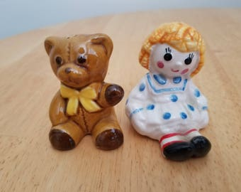Vintage Raggedy Ann and Teddy Bear Salt and Pepper Shakers