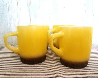 Set of 4 Vintage Fire King Coffee Cups in Yellow and Brown, Collectible Colorful Mid Century Retro Anchor Hocking Mug