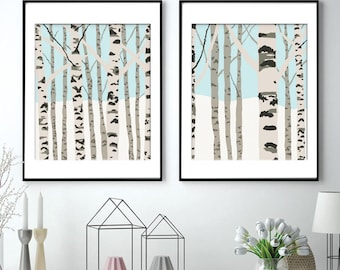 Birch Trees (B) Set of 2 Art Prints (Featured in Aqua) Nature Inspired Art Prints / Woodland Wall Art